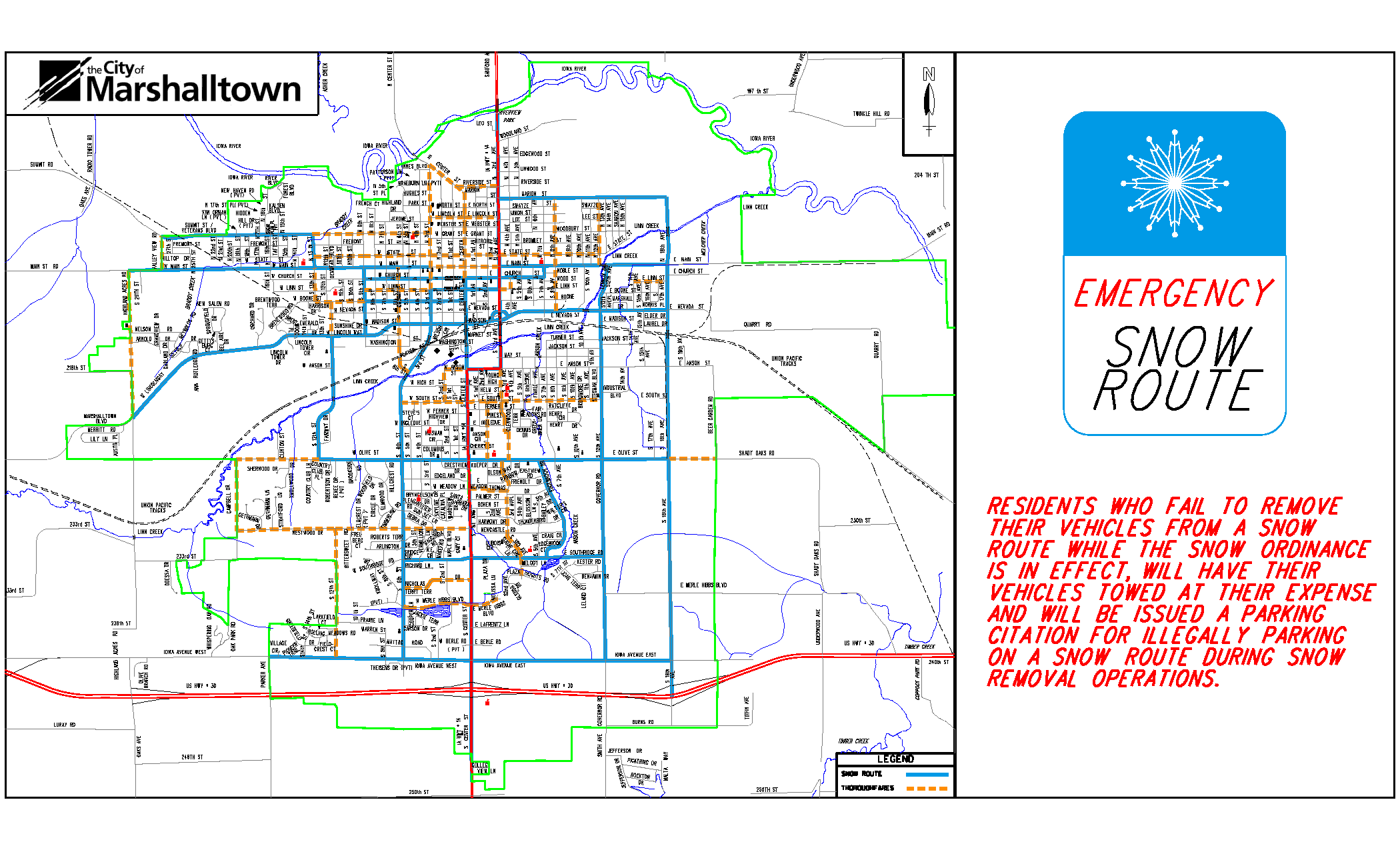Emergency Snow Route Map (PDF)